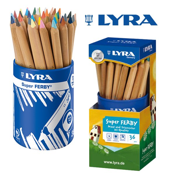 [LYRA リラ社]Super FERBY スーパーファルビー 色鉛筆 軸白木 24色36本セット プラスチックケース入り