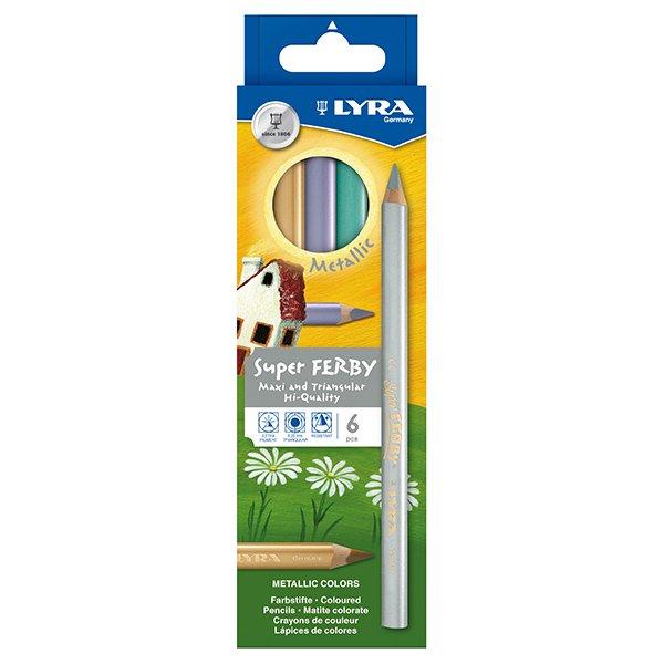 【メール便可】[LYRA リラ社]Super FERBY スーパーファルビー 色鉛筆 軸カラー メタリック6色セット