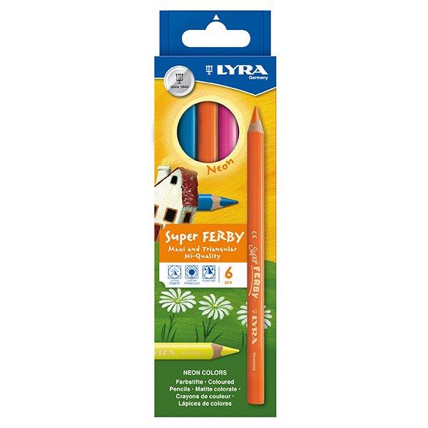 【メール便可】[LYRA リラ社]Super FERBY スーパーファルビー 色鉛筆 軸カラー ネオン6色セット