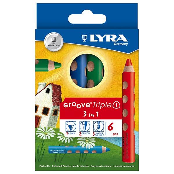 【メール便可】[LYRA リラ社]Groove グルーヴトリプルワン 色鉛筆 6色セット
