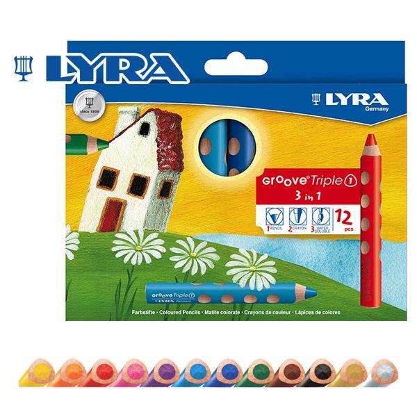 【メール便可】[LYRA リラ社]Groove グルーヴトリプルワン 色鉛筆 12色セット
