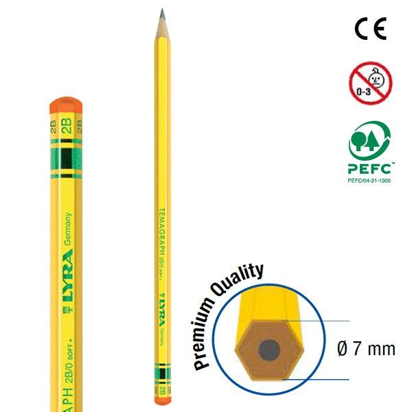 【メール便可】[LYRA リラ社]Temagraph テマグラフ 鉛筆2B 12本入り