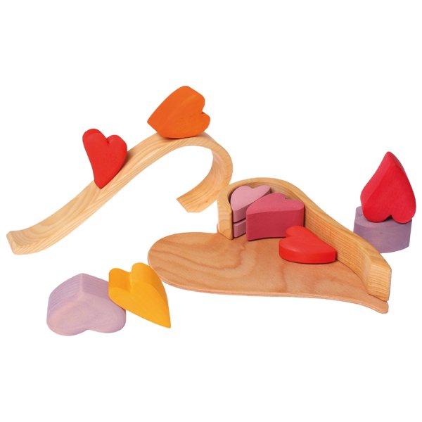 [Grimm's Spiel & Holz Design グリムス社]ハートの積木 レッド 10P