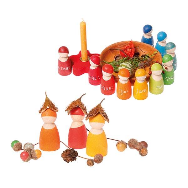 [Grimm's Spiel & Holz Design グリムス社]レインボーフレンズ 12人の人形