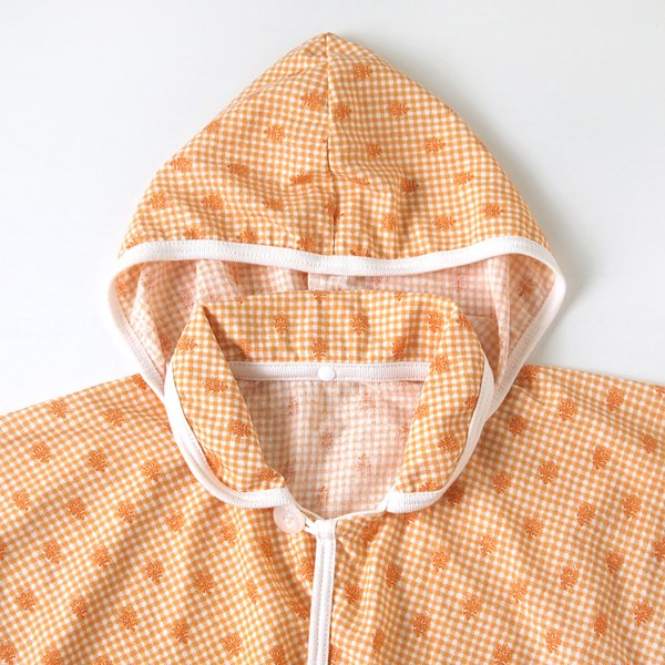 [SOULEIADO ソレイアード]UVカット ベビーマント オレンジ(フード取り外し可)