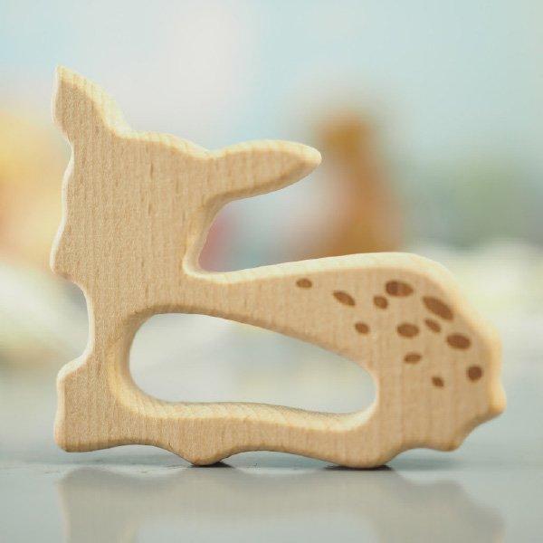 オリジナル 木製ベビークリップ & 歯固め バンビ 名入れセット おしゃぶりホルダー ベビーチェーン
