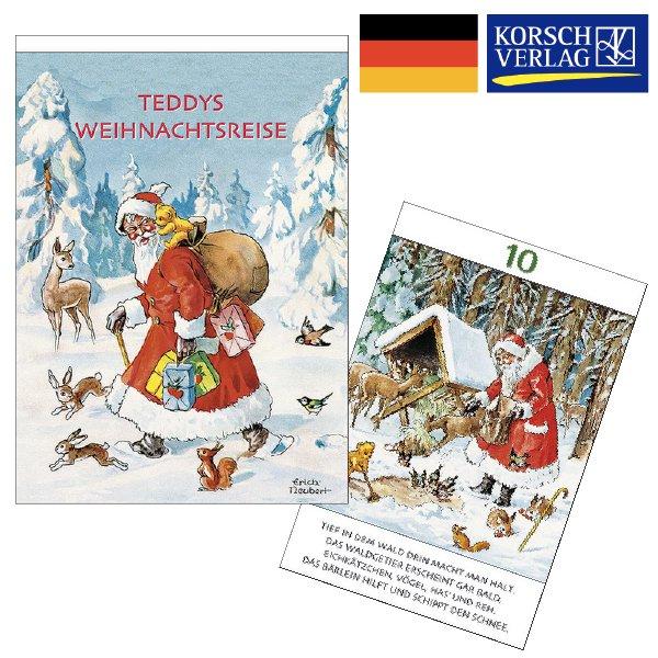 [mail可][Korsch Verlag社]日めくりアドベントカレンダー テディのクリスマス旅行 卓上 壁掛け 絵本