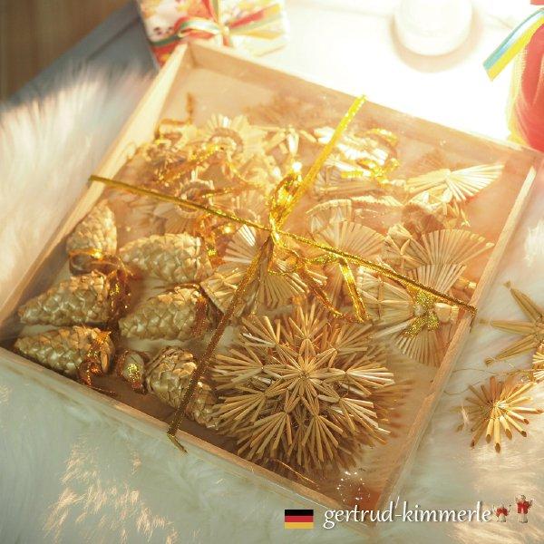 [Kimmerle キマール社]クリスマス ストローオーナメント30個セット 金糸 木箱入