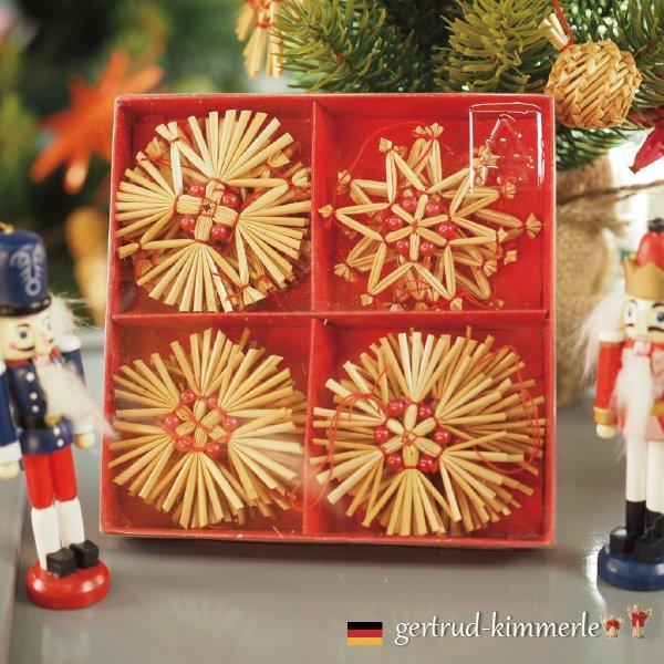 [Kimmerle キマール社]クリスマス ストローオーナメント16個セット レッドパール 紙箱入