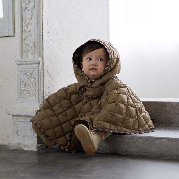 [Ficelle フィセル - SOULEIADO ソレイアード]キルティング ベビーマント ブラウン 新生児〜100cm