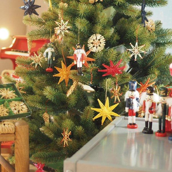 クリスマス ストローオーナメントセット 天使とハート 赤糸 茶紙箱 24pcs