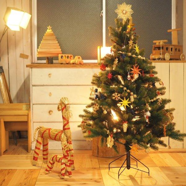 クリスマス ストローオーナメントセット 天使 赤糸 青紙箱 24pcs