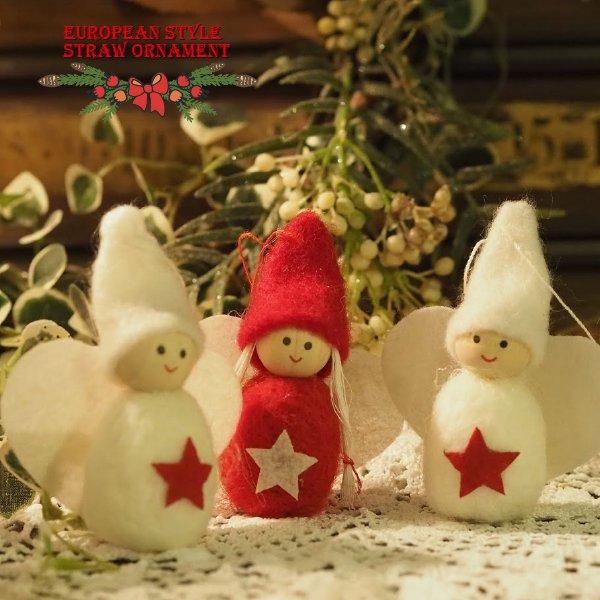 クリスマス 木製&フェルトオーナメント 星の天使 3体セット