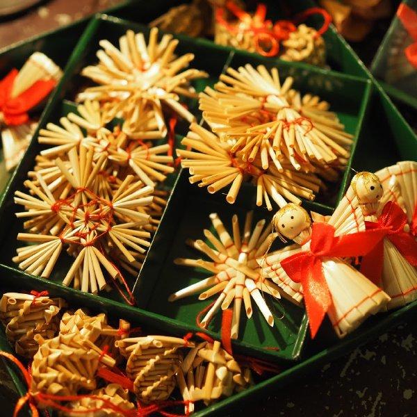 クリスマス ストローオーナメントセット 天使とミニベル 赤糸 緑紙箱 29pcs