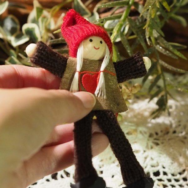 クリスマス 木製&コットンオーナメント 赤い帽子の男の子 女の子セット