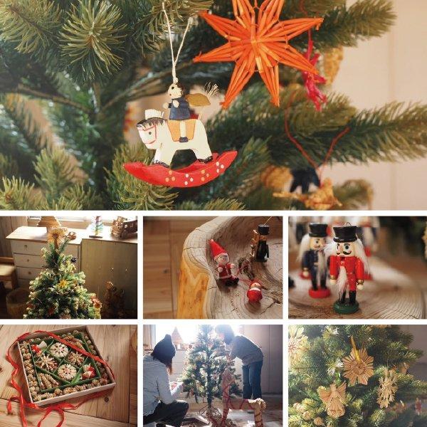 クリスマス 木製&コットンオーナメント スキー 男の子と女の子 セット