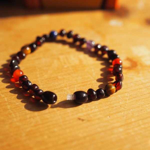 [ Baltic Amber ] 琥珀と天然石のブレスレット(アンクレット) パパ用 20cm タイガーアイ