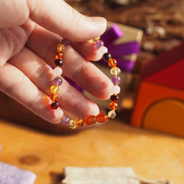 [ Baltic Amber ] 琥珀と天然石のブレスレット(アンクレット) ママ用 18cm アメジスト