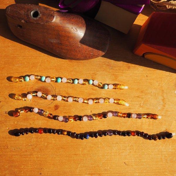 [ Baltic Amber ] 琥珀と天然石のブレスレット(アンクレット) ベビー・キッズ用 14cm ローズクォーツ