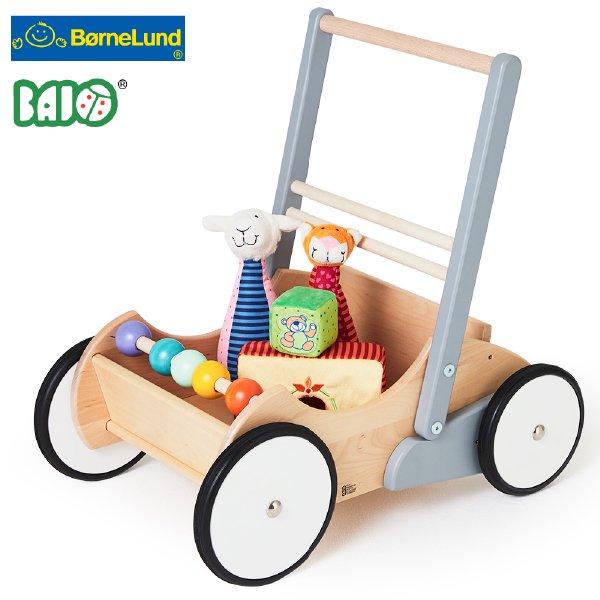 [Bornelund ボーネルンド]BAJO バヨ ベビーウォーカー ホワイト&グレー 木製手押し車
