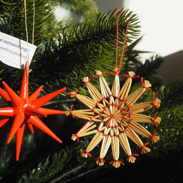 ストローオーナメントセット24pcs 雪の結晶 青紙箱M 6-8cm 赤糸 クリスマス
