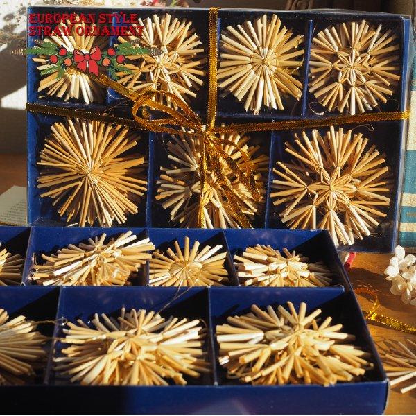 ストローオーナメントセット28pcs 雪の結晶 青紙箱M 6-8cm 金糸 クリスマス