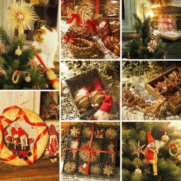 ストローオーナメントセット 朱色星と松ぼっくり 28pcs 青紙箱M 6-8cm 赤糸 クリスマス