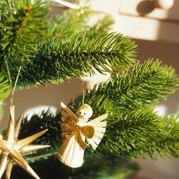 ストローオーナメントセット 金色リボンの天使とハート 22pcs 茶紙箱M 3-6cm  白糸 クリスマス