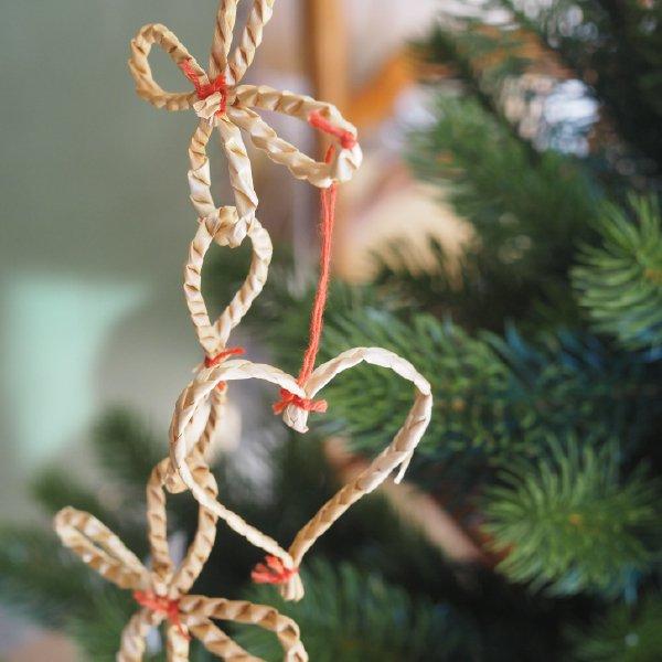 ストロー ガーランド 180cm 天使とお花 クリスマス オーナメント