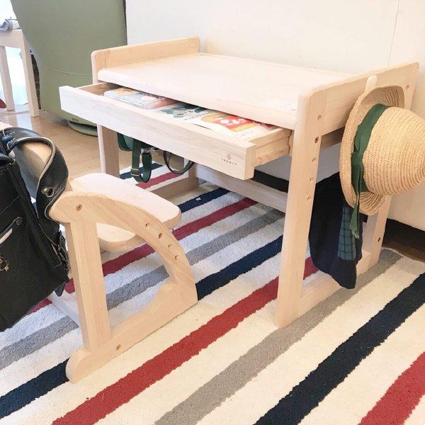 [IKONIH アイコニー ] キッズデスク 高さ調節可 木製 檜 ひのきのベビー キッズデスク