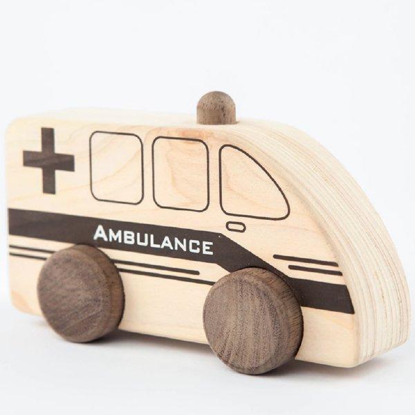 [IKONIH アイコニー ] はたらく車シリーズ プッシュトイ 車セット 赤ちゃん おもちゃ 檜 ひのき 日本産ひのき