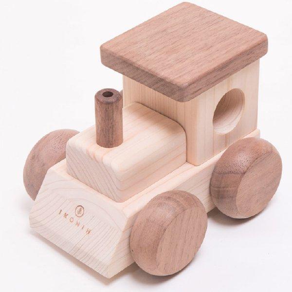 [IKONIH アイコニー ] オルゴールトレイン 曲目 海の見える街 (「魔女の宅急便」より) 名入れセット プッシュトイ 働く車 木製 檜 ひのき 日本産ひのき