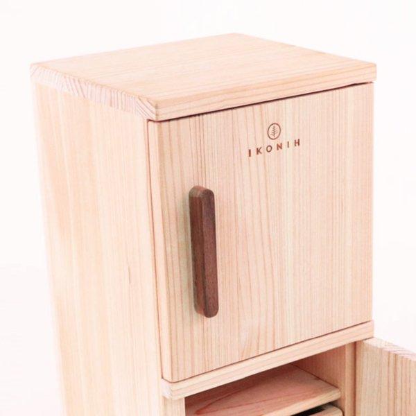 [IKONIH アイコニー ] 木製ままごと 冷蔵庫 名入れセット さっくり食材 包丁 まな板 木箱 木製 檜 ひのき 日本産ひのき