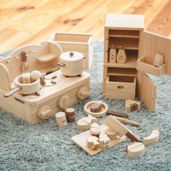 [IKONIH アイコニー ] クッキングセット 名入れセット 木製 檜 ひのき 日本産ひのき 木製おままごと ごっこ遊び キッチン さっくり食材 冷蔵庫 木箱