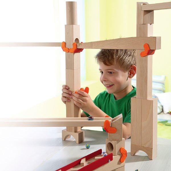 [ HABA ハバ ]  積木のジョイントパーツ 10個セット 組み立てクーゲルバーン追加パーツ ドイツ 4歳 ブラザージョルダン ビー玉転がし スロープ ピタゴラスイッチ 積み木