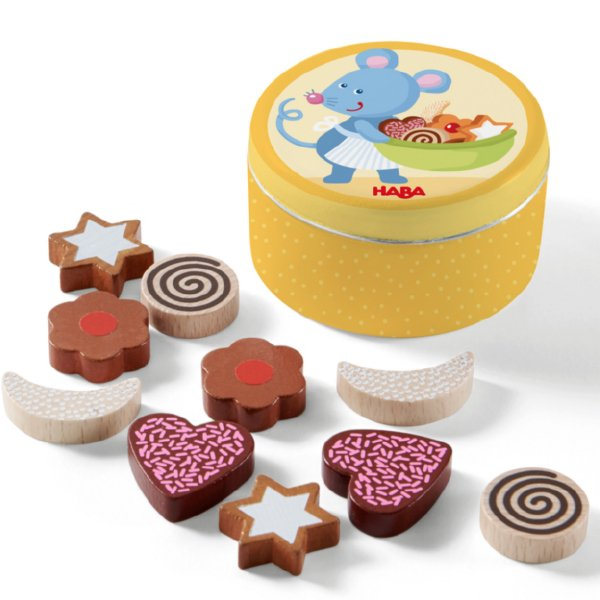 [ HABA ハバ ]  ミニセット クッキー 缶 ドイツ 3歳 ブラザージョルダン おままごと 食材 ごっこ遊び サックリ 木製