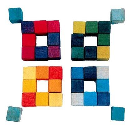 [Grimm's Spiel & Holz Design グリムス社]にじのキューブ カラーキューブ 小 36p