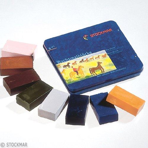 【メール便可】[Stockmar シュトックマー社]蜜ろうクレヨン ブロッククレヨン 8色 缶 中間色
