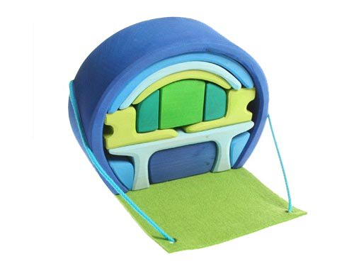 [Grimm's Spiel & Holz Design グリムス社]スマートハウス 積み木のドールハウス ブルー