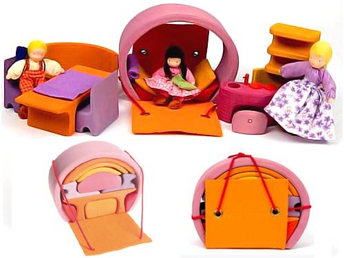 [Grimm's Spiel & Holz Design グリムス社]スマートハウス 積み木のドールハウス ピンク