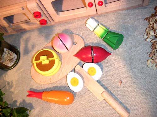 [ダイワ]ミニキッチンシリーズ 木箱入り食材・包丁・まな板のセットD