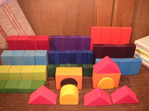 [Grimm's Spiel & Holz Design グリムス社] カラー幾何学積み木60P