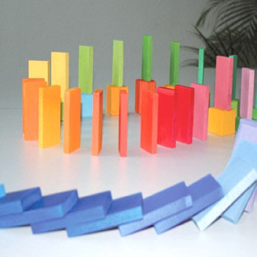 [Grimm's Spiel & Holz Design グリムス社]ドミノ積み木 大 カラー 60P