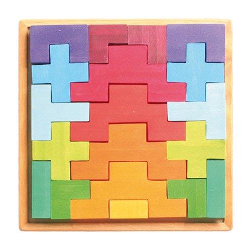[Grimm's Spiel & Holz Design グリムス社]階段積み木 カラー 19P