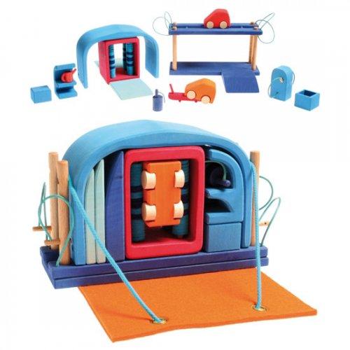 [Grimm's Spiel & Holz Design グリムス社]モバイルカー ブルー 15P
