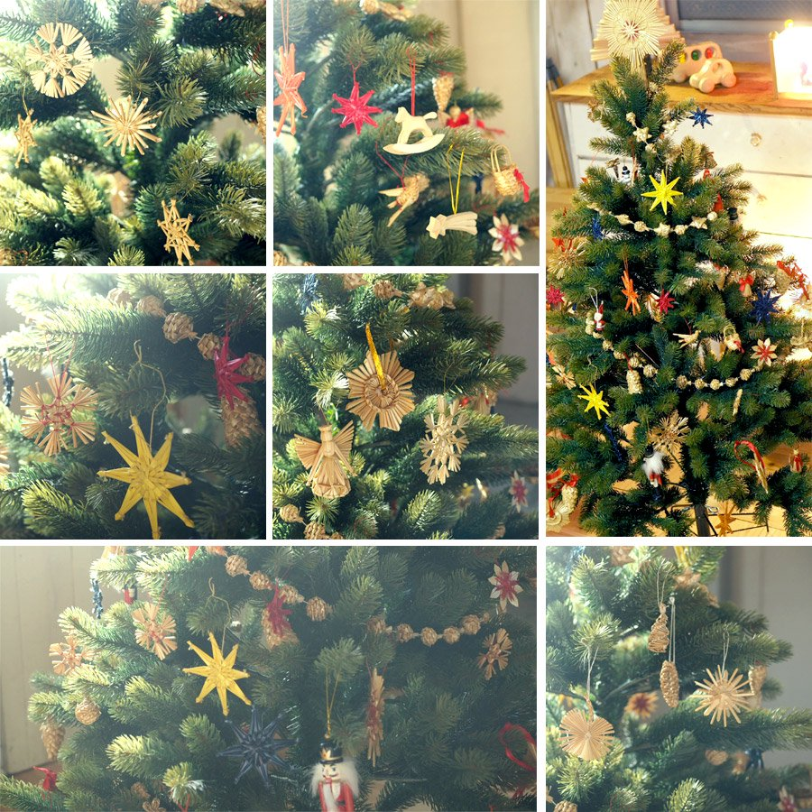 [Kimmerle キマール社]クリスマス 木製オーナメント 星ベル付 赤 5cm
