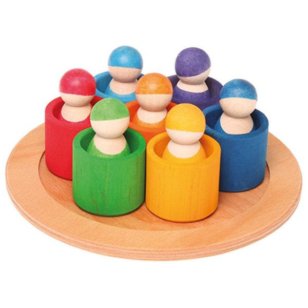 [Grimm's Spiel & Holz Design グリムス社]カラフルフレンズ 7色のコップと人形