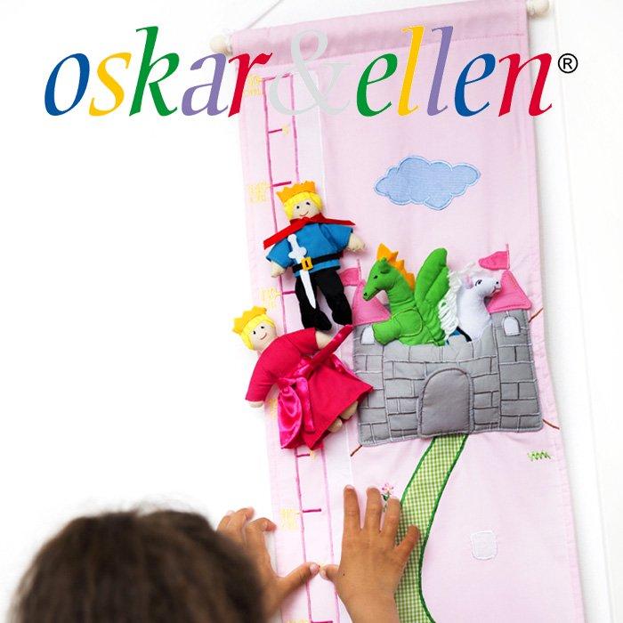 [Oskar & Ellen オスカー&エレン社]布製身長計 ハイチャート プリンセス ピンク