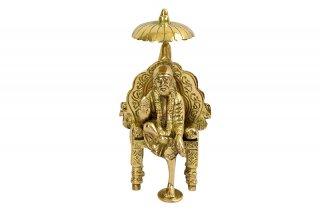 シルディ・サイババ神像(真鍮製、玉座)(受注製作)
