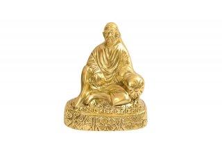 シルディ・サイババ神像(真鍮製、クッション座)(受注製作)